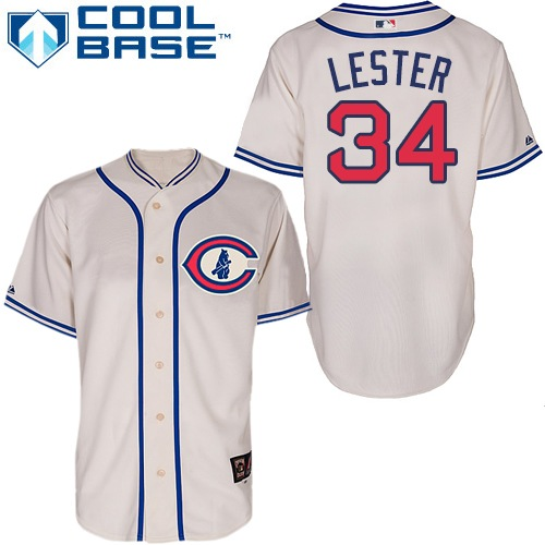 Men's Majestic Chicago Cubs #34 Jon Lester Authentic Cream 1929 Turn Back The Clock MLB Jersey