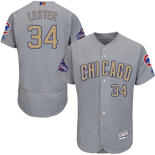 Men's Majestic Chicago Cubs #34 Jon Lester Authentic Gray 2017 Gold Champion Flex Base MLB Jersey