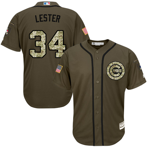 Men's Majestic Chicago Cubs #34 Jon Lester Authentic Green Salute to Service MLB Jersey