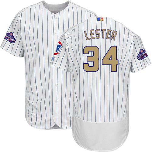 Men's Majestic Chicago Cubs #34 Jon Lester Authentic White 2017 Gold Program Flex Base MLB Jersey