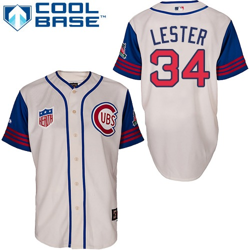 Men's Majestic Chicago Cubs #34 Jon Lester Replica Cream/Blue 1942 Turn Back The Clock MLB Jersey