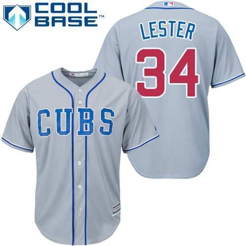 Men's Majestic Chicago Cubs #34 Jon Lester Replica Grey Alternate Road Cool Base MLB Jersey