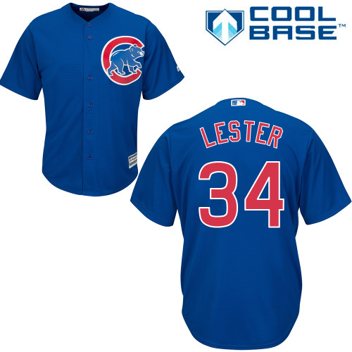 Men's Majestic Chicago Cubs #34 Jon Lester Replica Royal Blue Alternate Cool Base MLB Jersey