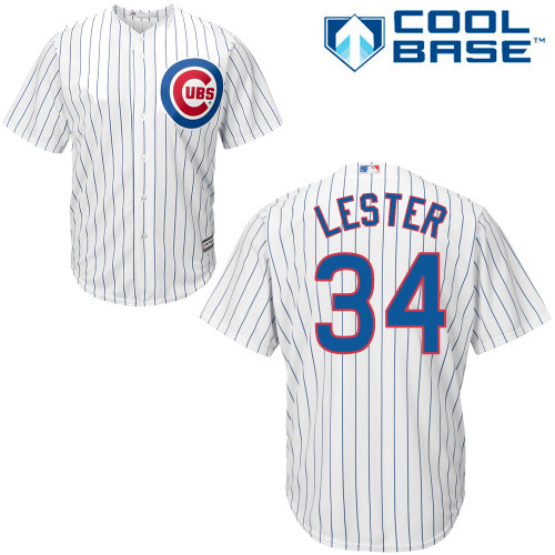 Men's Majestic Chicago Cubs #34 Jon Lester Replica White Home Cool Base MLB Jersey