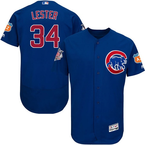 Men's Majestic Chicago Cubs #34 Jon Lester Royal Blue Alternate Flex Base Authentic Collection MLB Jersey