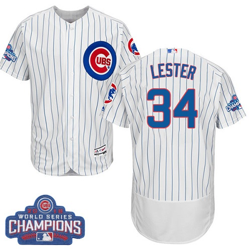 Men's Majestic Chicago Cubs #34 Jon Lester White 2016 World Series Champions Flexbase Authentic Collection MLB Jersey