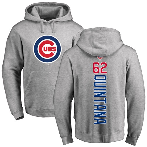 MLB Nike Chicago Cubs #62 Jose Quintana Ash Backer Pullover Hoodie