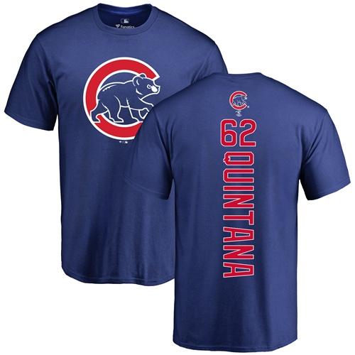 MLB Nike Chicago Cubs #62 Jose Quintana Royal Blue Backer T-Shirt