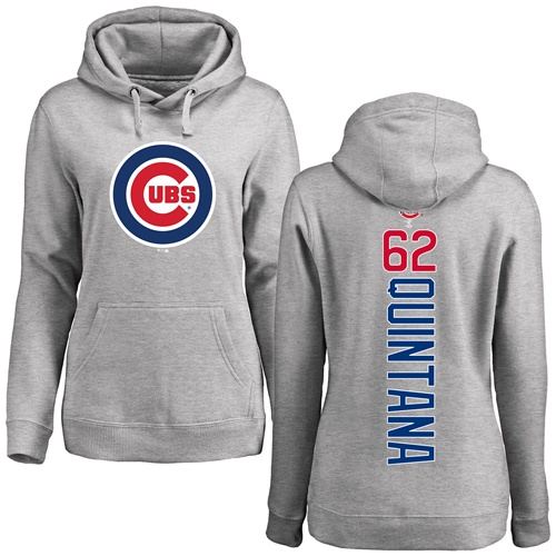 MLB Women's Nike Chicago Cubs #62 Jose Quintana Ash Backer Pullover Hoodie