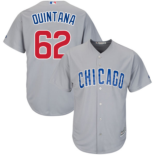Men's Majestic Chicago Cubs #62 Jose Quintana Replica Grey Road Cool Base MLB Jersey