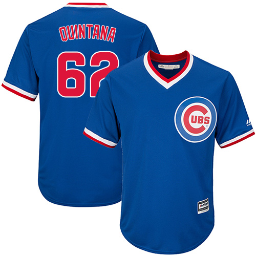 Men's Majestic Chicago Cubs #62 Jose Quintana Replica Royal Blue Cooperstown Cool Base MLB Jersey