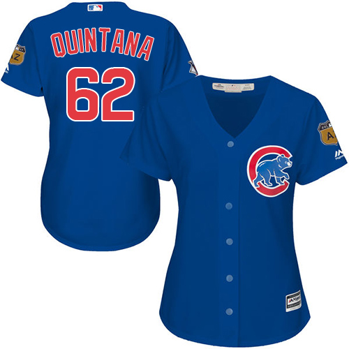 Women's Majestic Chicago Cubs #62 Jose Quintana Authentic Royal Blue Alternate MLB Jersey