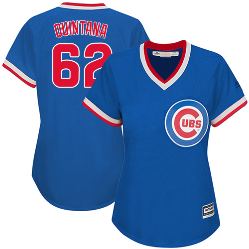 Women's Majestic Chicago Cubs #62 Jose Quintana Authentic Royal Blue Cooperstown MLB Jersey