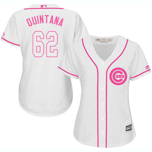 Women's Majestic Chicago Cubs #62 Jose Quintana Authentic White Fashion MLB Jersey