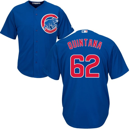 Youth Majestic Chicago Cubs #62 Jose Quintana Authentic Royal Blue Alternate Cool Base MLB Jersey