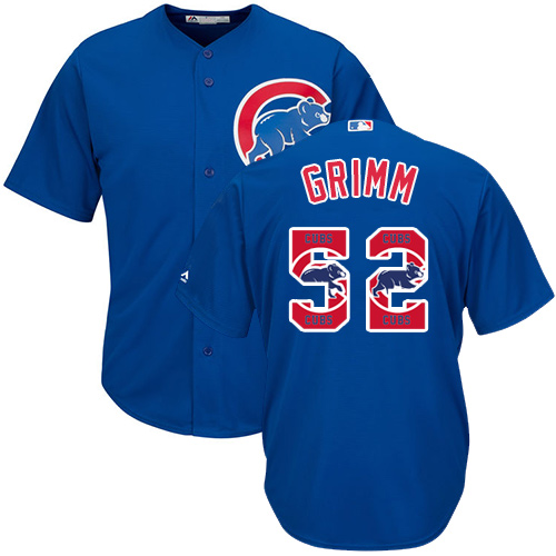 Men's Majestic Chicago Cubs #52 Justin Grimm Authentic Royal Blue Team Logo Fashion Cool Base MLB Jersey