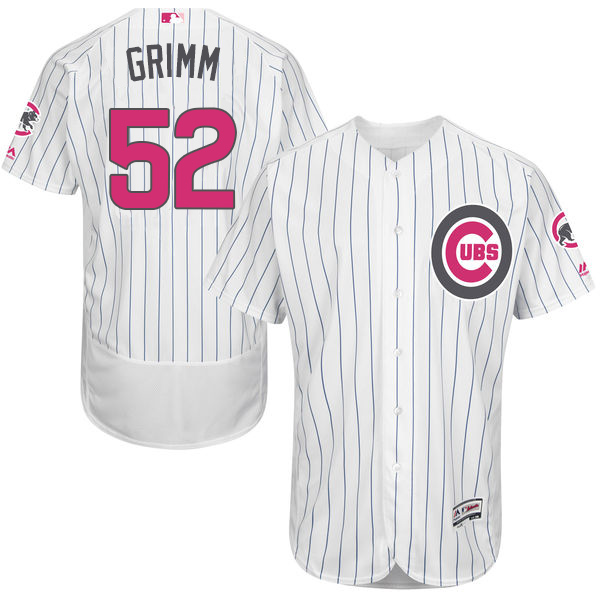 Men's Majestic Chicago Cubs #52 Justin Grimm Authentic White 2016 Mother's Day Fashion Flex Base MLB Jersey