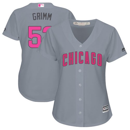 Women's Majestic Chicago Cubs #52 Justin Grimm Authentic Grey Mother's Day Cool Base MLB Jersey