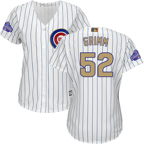Women's Majestic Chicago Cubs #52 Justin Grimm Authentic White 2017 Gold Program MLB Jersey