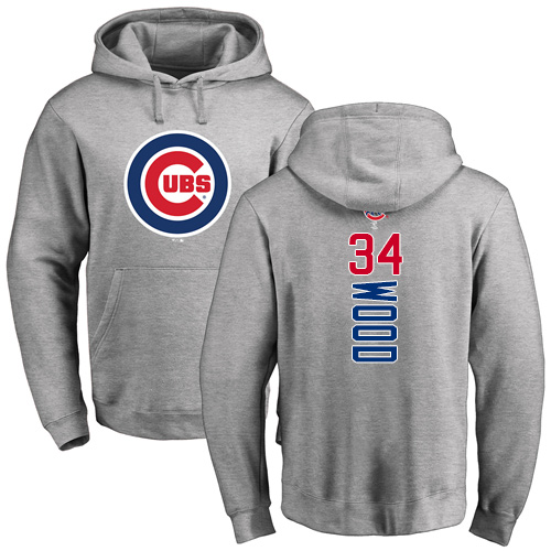 MLB Nike Chicago Cubs #34 Kerry Wood Ash Backer Pullover Hoodie