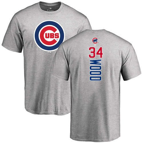 MLB Nike Chicago Cubs #34 Kerry Wood Ash Backer T-Shirt
