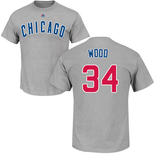 MLB Nike Chicago Cubs #34 Kerry Wood Gray Name & Number T-Shirt