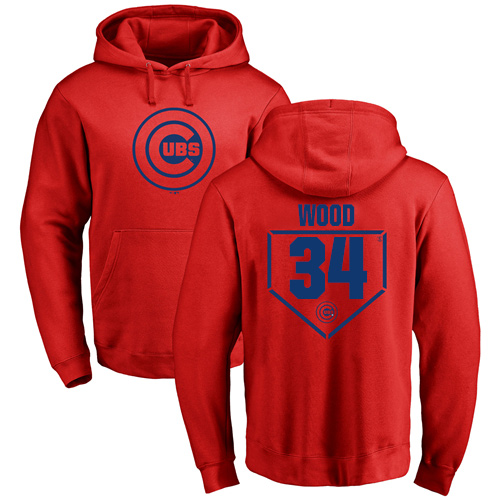 MLB Nike Chicago Cubs #34 Kerry Wood Red RBI Pullover Hoodie