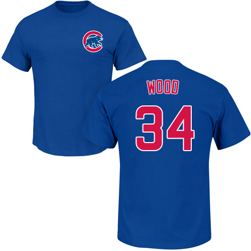 MLB Nike Chicago Cubs #34 Kerry Wood Royal Blue Name & Number T-Shirt