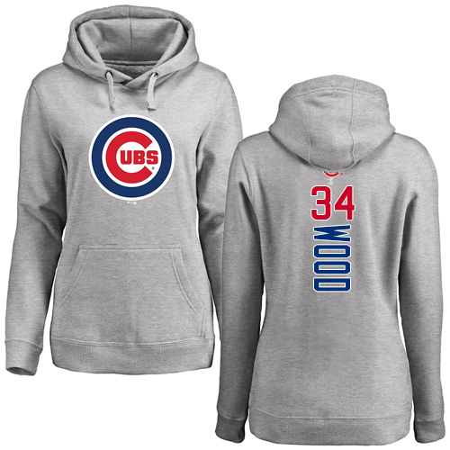 MLB Women's Nike Chicago Cubs #34 Kerry Wood Ash Backer Pullover Hoodie