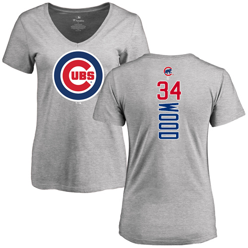 MLB Women's Nike Chicago Cubs #34 Kerry Wood Ash Backer T-Shirt