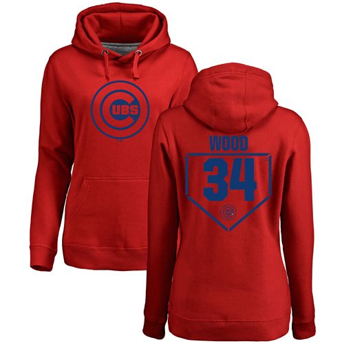 MLB Women's Nike Chicago Cubs #34 Kerry Wood Red RBI Pullover Hoodie