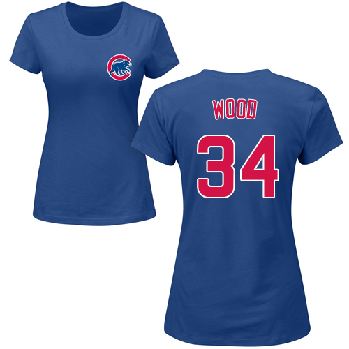 MLB Women's Nike Chicago Cubs #34 Kerry Wood Royal Blue Name & Number T-Shirt