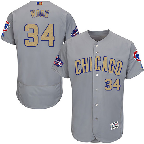 Men's Majestic Chicago Cubs #34 Kerry Wood Authentic Gray 2017 Gold Champion Flex Base MLB Jersey