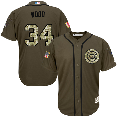 Men's Majestic Chicago Cubs #34 Kerry Wood Authentic Green Salute to Service MLB Jersey