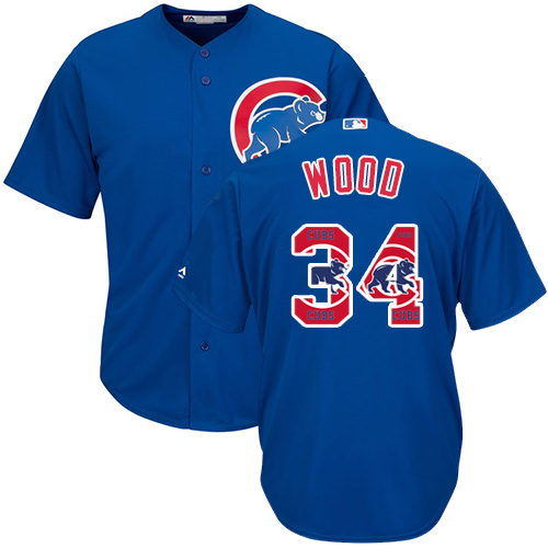 Men's Majestic Chicago Cubs #34 Kerry Wood Authentic Royal Blue Team Logo Fashion Cool Base MLB Jersey