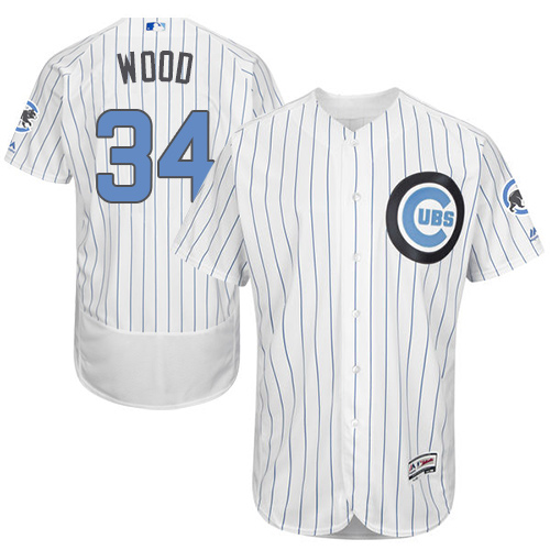 Men's Majestic Chicago Cubs #34 Kerry Wood Authentic White 2016 Father's Day Fashion Flex Base MLB Jersey