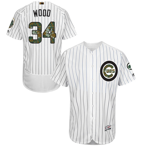 Men's Majestic Chicago Cubs #34 Kerry Wood Authentic White 2016 Memorial Day Fashion Flex Base MLB Jersey