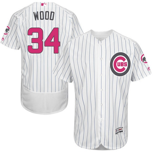 Men's Majestic Chicago Cubs #34 Kerry Wood Authentic White 2016 Mother's Day Fashion Flex Base MLB Jersey