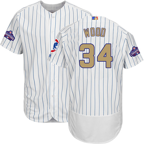 Men's Majestic Chicago Cubs #34 Kerry Wood Authentic White 2017 Gold Program Flex Base MLB Jersey
