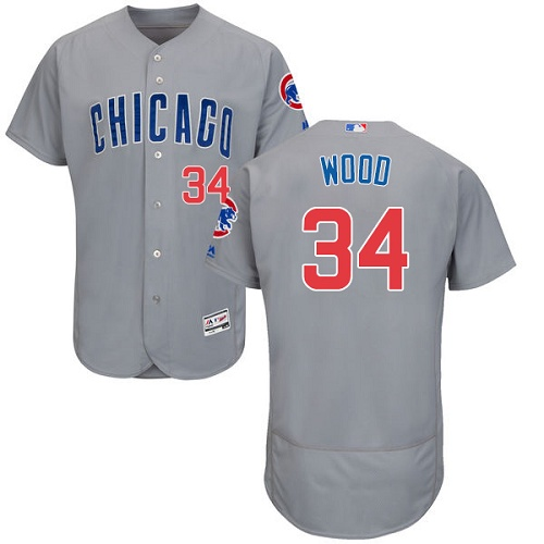 Men's Majestic Chicago Cubs #34 Kerry Wood Grey Road Flex Base Authentic Collection MLB Jersey
