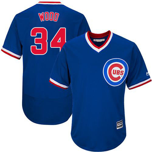 Men's Majestic Chicago Cubs #34 Kerry Wood Replica Royal Blue Cooperstown Cool Base MLB Jersey