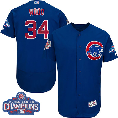 Men's Majestic Chicago Cubs #34 Kerry Wood Royal Blue 2016 World Series Champions Flexbase Authentic Collection MLB Jersey
