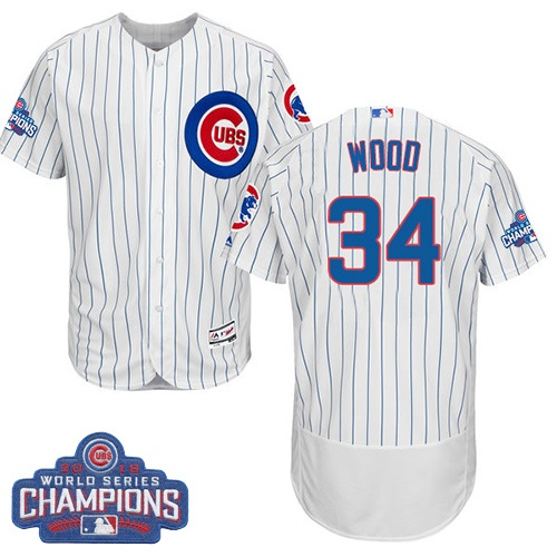 Men's Majestic Chicago Cubs #34 Kerry Wood White 2016 World Series Champions Flexbase Authentic Collection MLB Jersey