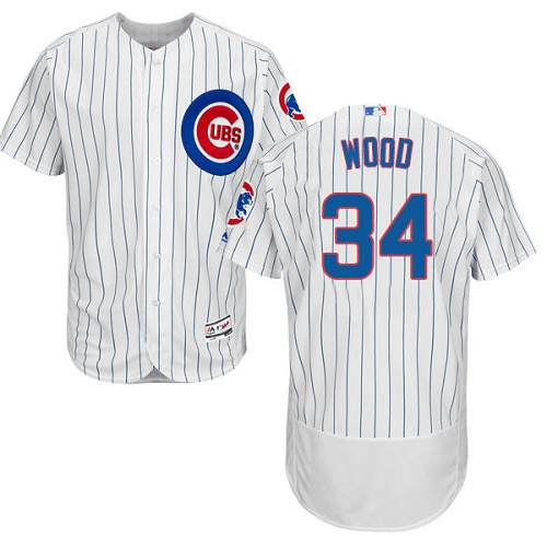 Men's Majestic Chicago Cubs #34 Kerry Wood White Home Flex Base Authentic Collection MLB Jersey