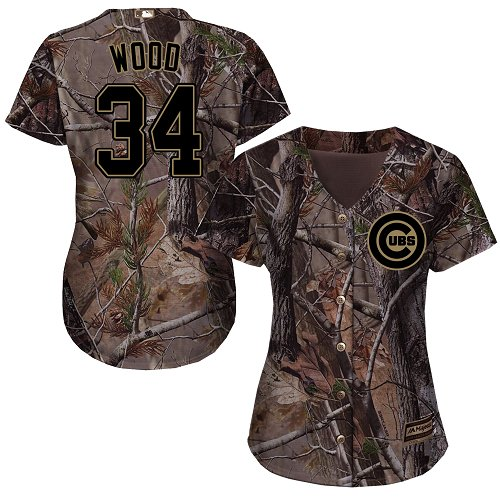Women's Majestic Chicago Cubs #34 Kerry Wood Authentic Camo Realtree Collection Flex Base MLB Jersey