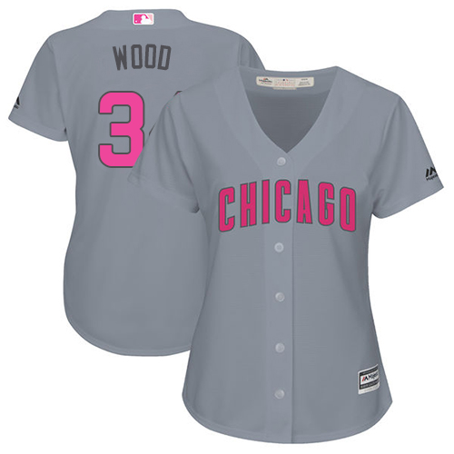 Women's Majestic Chicago Cubs #34 Kerry Wood Authentic Grey Mother's Day Cool Base MLB Jersey