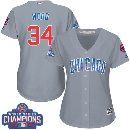 Women's Majestic Chicago Cubs #34 Kerry Wood Authentic Grey Road 2016 World Series Champions Cool Base MLB Jersey