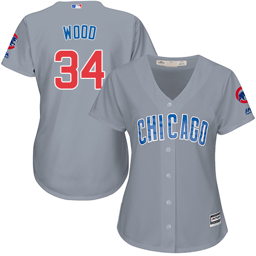 Women's Majestic Chicago Cubs #34 Kerry Wood Authentic Grey Road MLB Jersey