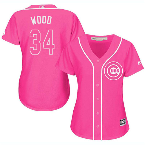 Women's Majestic Chicago Cubs #34 Kerry Wood Authentic Pink Fashion MLB Jersey