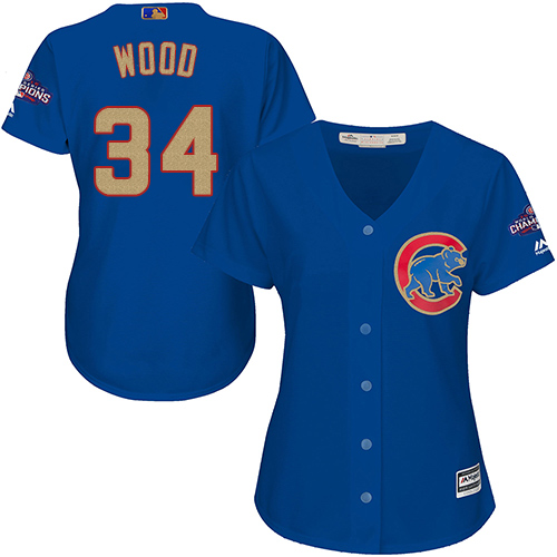 Women's Majestic Chicago Cubs #34 Kerry Wood Authentic Royal Blue 2017 Gold Champion MLB Jersey